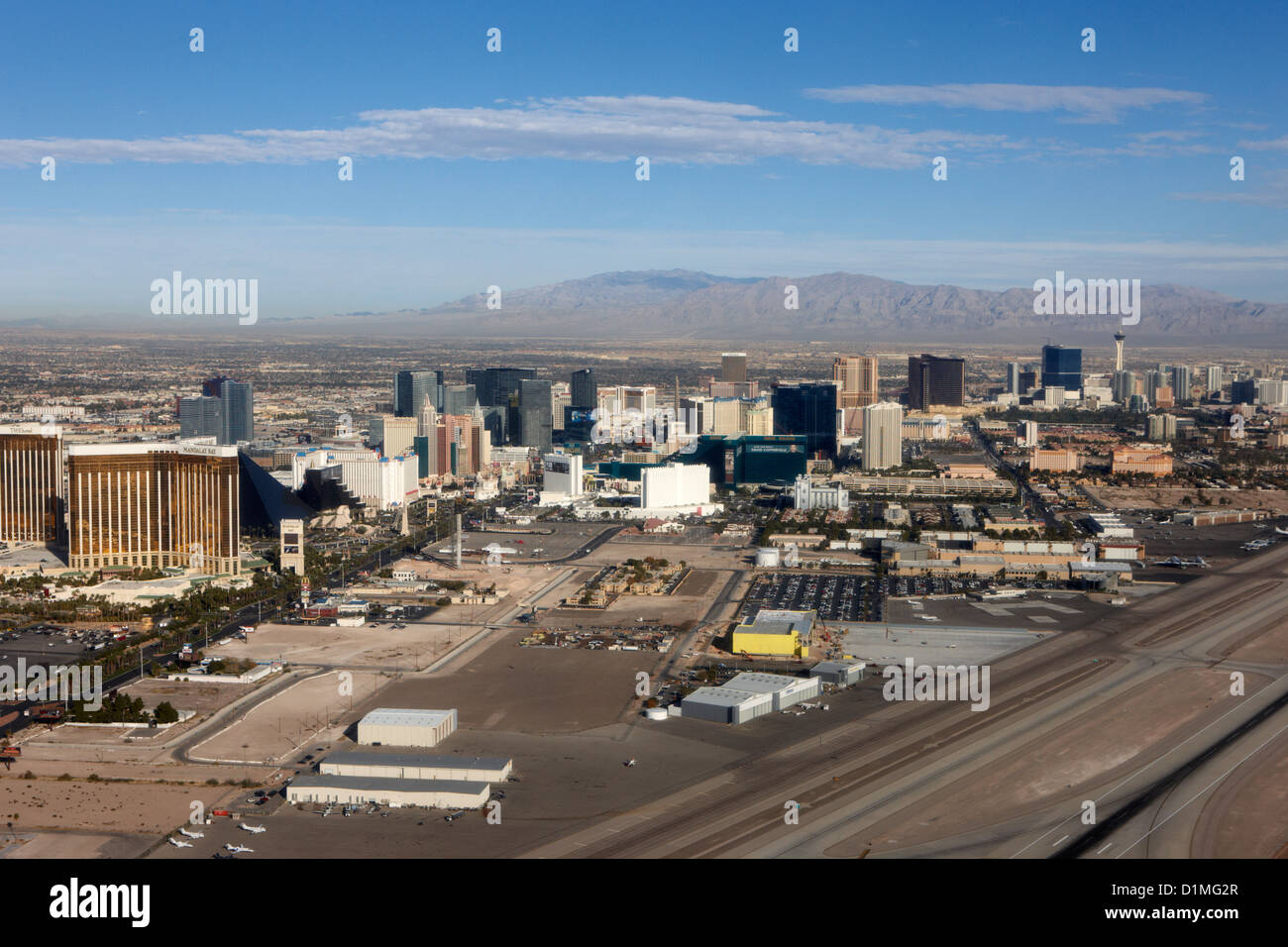 aerial view of Las Vegas strip and mccarran airport runways Nevada USA - Stock Image