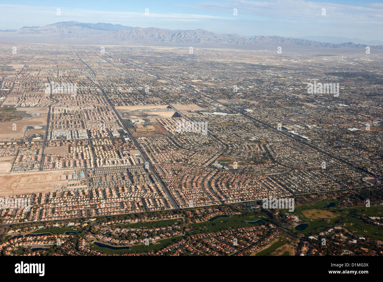 aerial view of Las Vegas urban sprawl Nevada USA - Stock Image