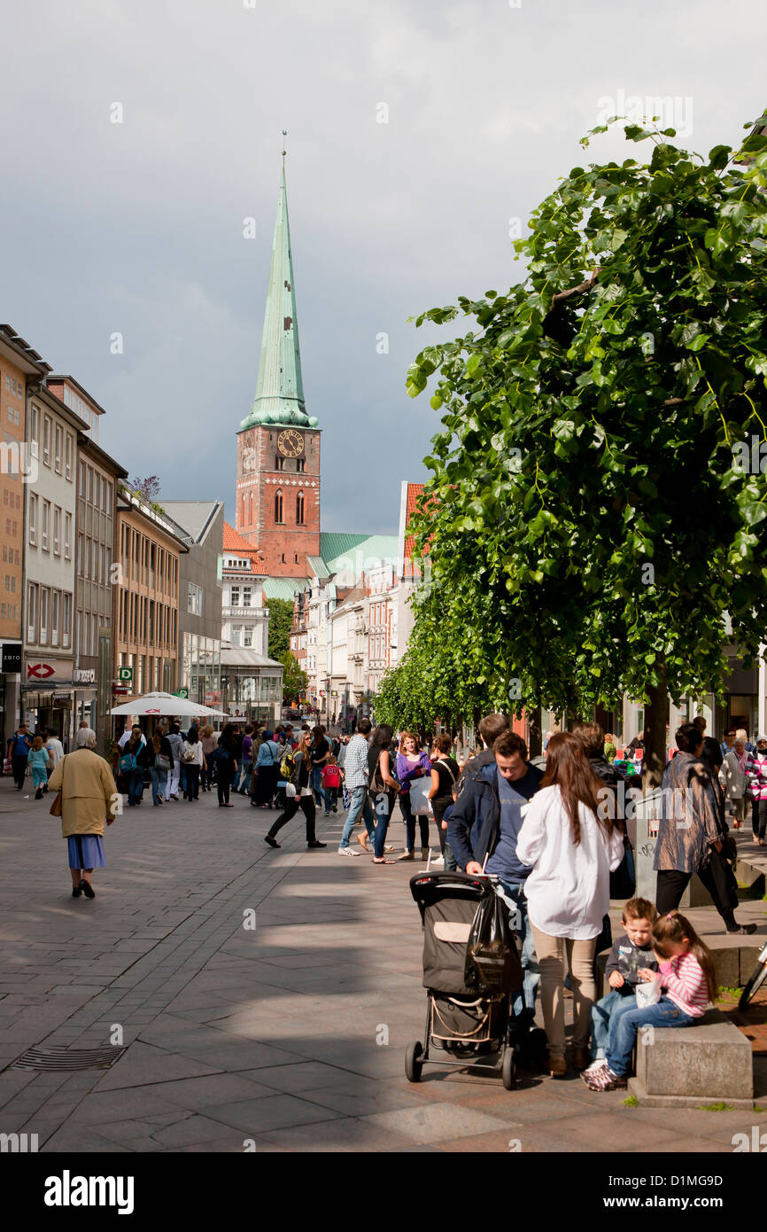 View from the pedestrianized street in Lübeck Germany - Stock Image
