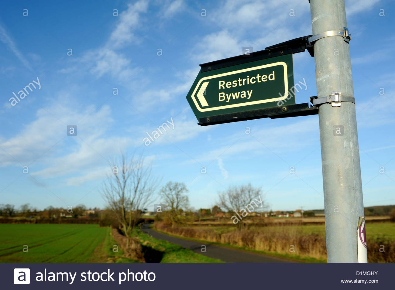 Hanthorpe nr Bourne Lincs UK. Sign 'Restricted byway.' - Stock Image