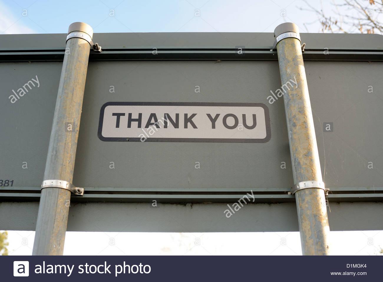 Moreton nr Bourne Lincs UK. Road sign - Thank you. - Stock Image