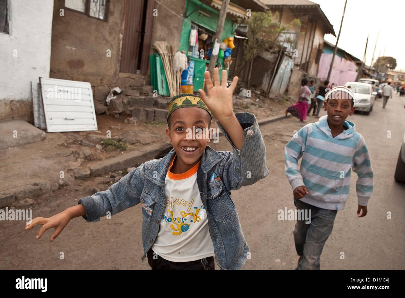 Roadside scene in Addis Ababa, Ethiopia. - Stock Image