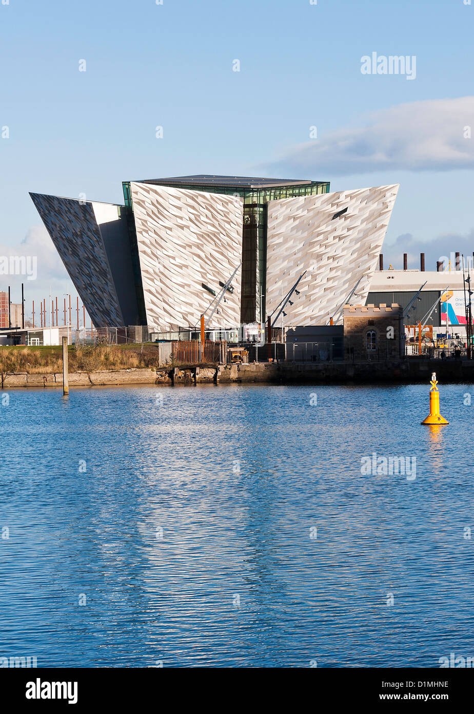 The Beautiful Exterior of the Titanic Museum in Titanic Quarter Near Harland and Wolff Shipyard Belfast Northern - Stock Image