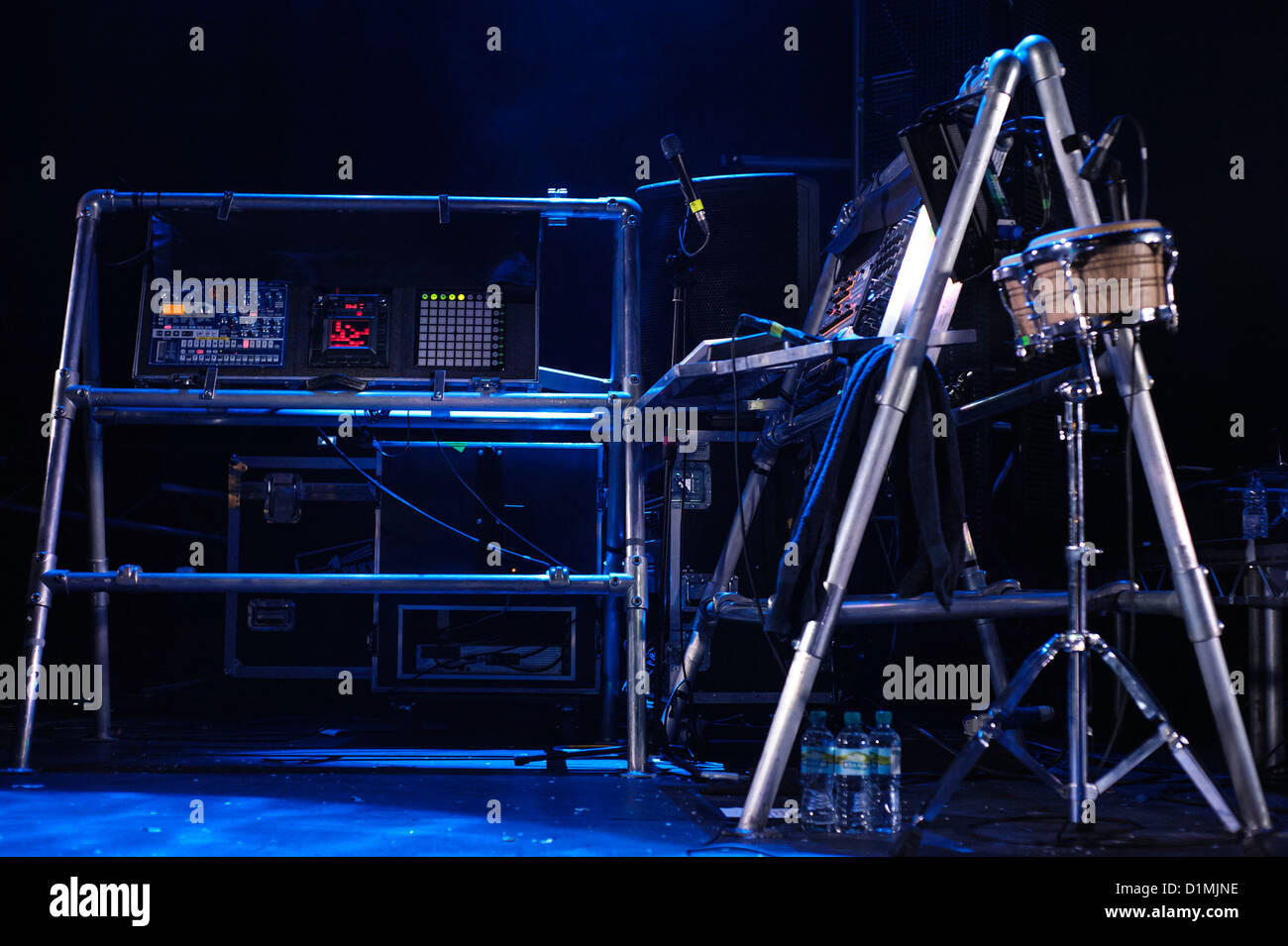 The electronic instrument racks as Enter Shikari plays The Roundhouse on 16/12/2012 at The Roundhouse, London. Picture - Stock Image