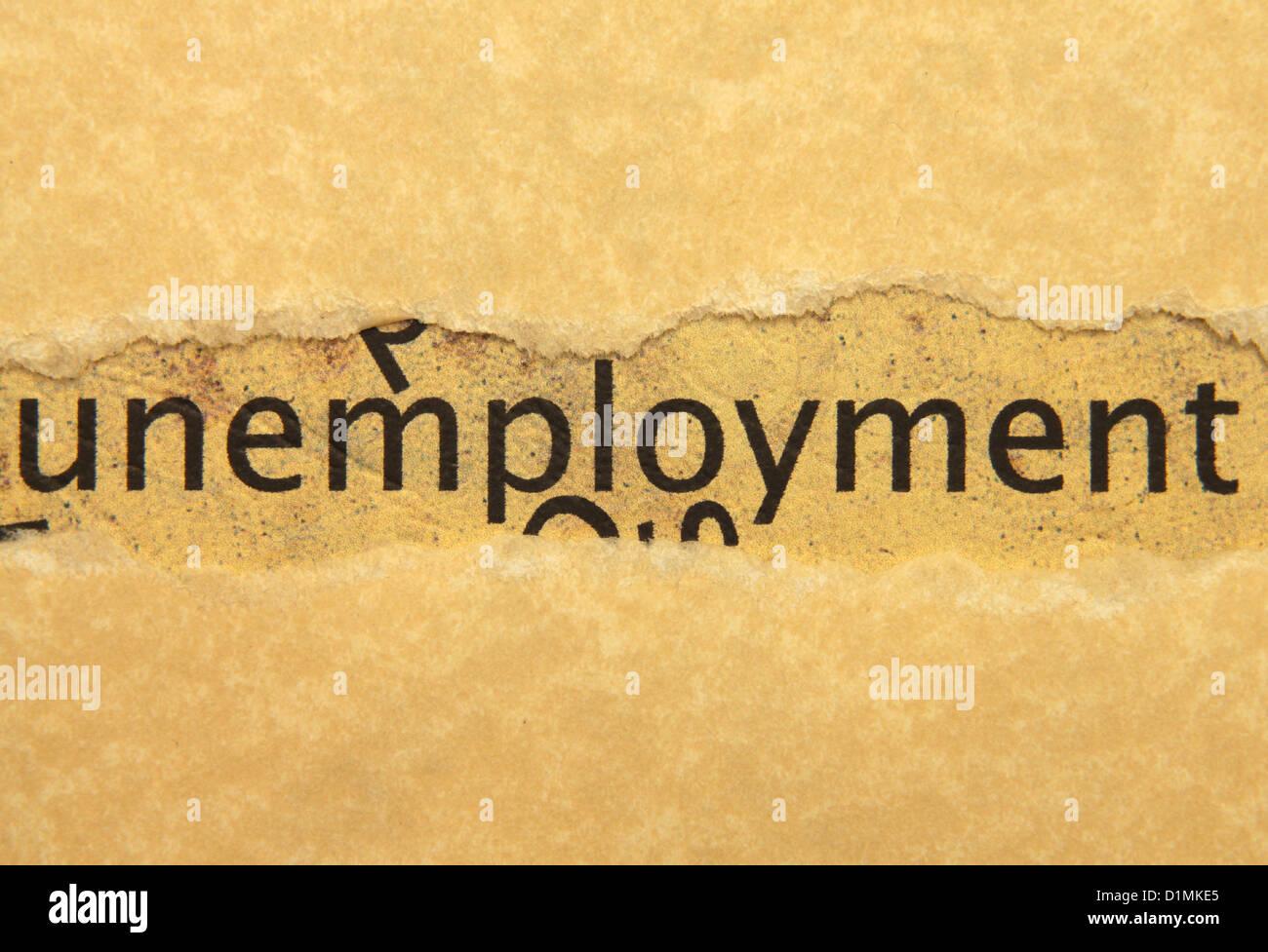 Unemployment text on grunge paper Stock Photo