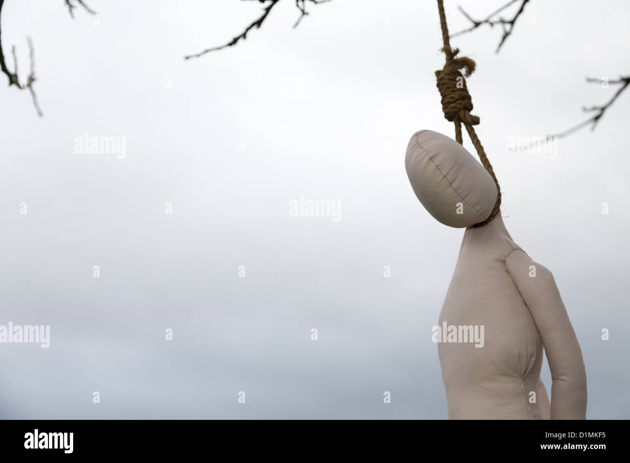 Hangman's Noose with Rag Doll - Stock Image