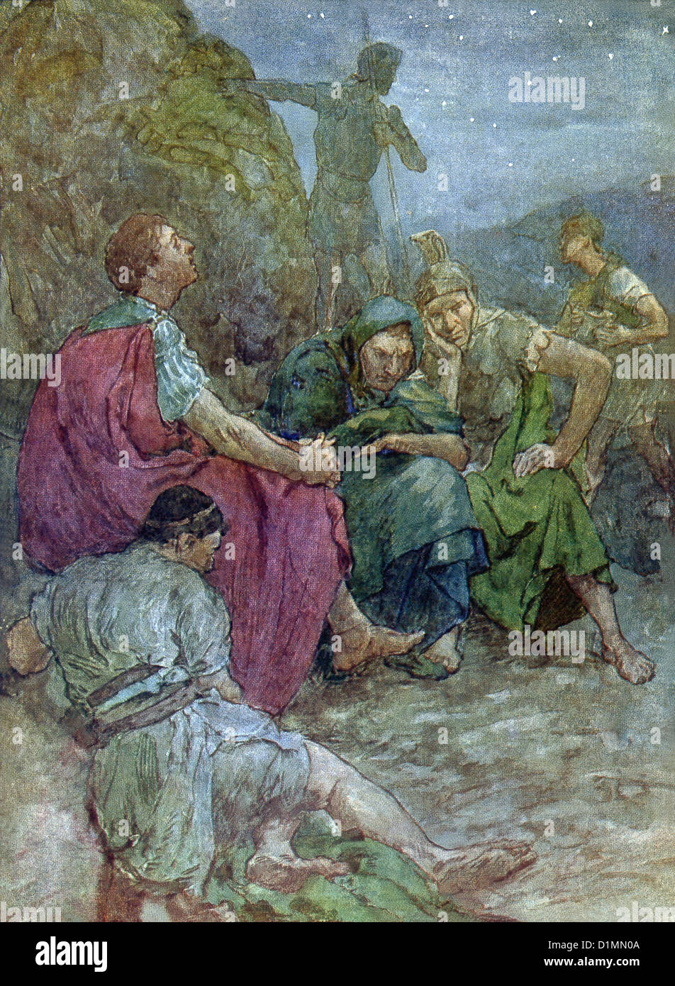 Brutus, who had been a main conspirator against Julius Caesar, sits after the Battle of Philippi before he commits - Stock Image