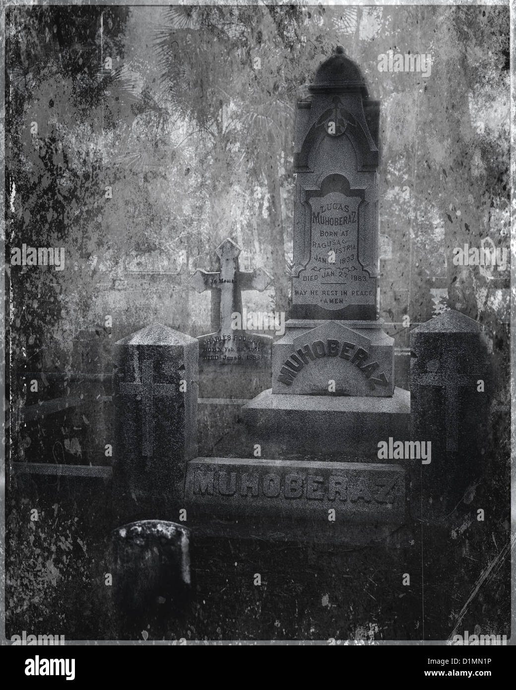 Tombstones and crossed with texture in a cemetery. - Stock Image