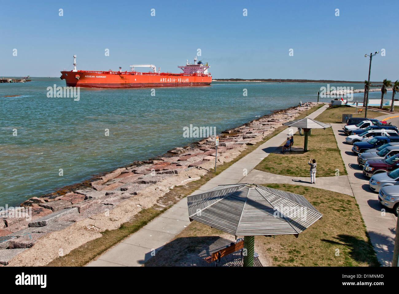Tanker transporting petroleum, Corpus Christi ship channel. - Stock Image