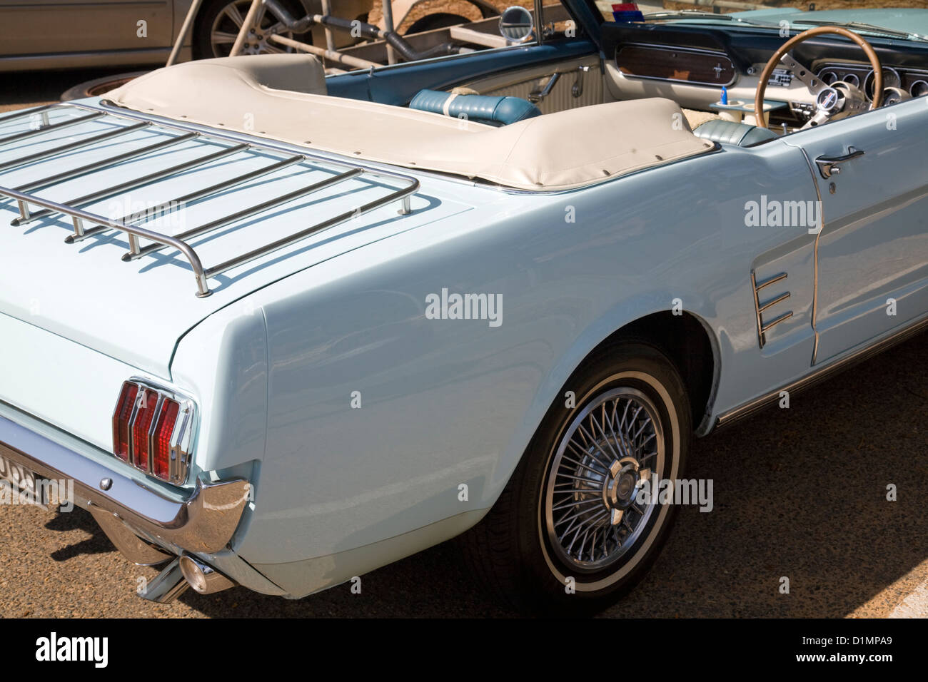Pale Light Blue Ford Mustang Convertible At Newport Stock Photo Alamy