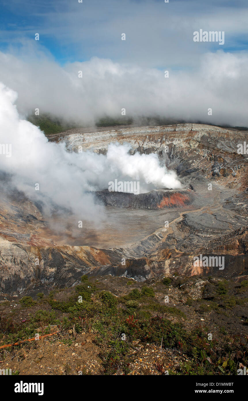 Sulfuric acid gas emission cloud rising from the active crater in Poás Volcano National Park, Alajuela Province, - Stock Image