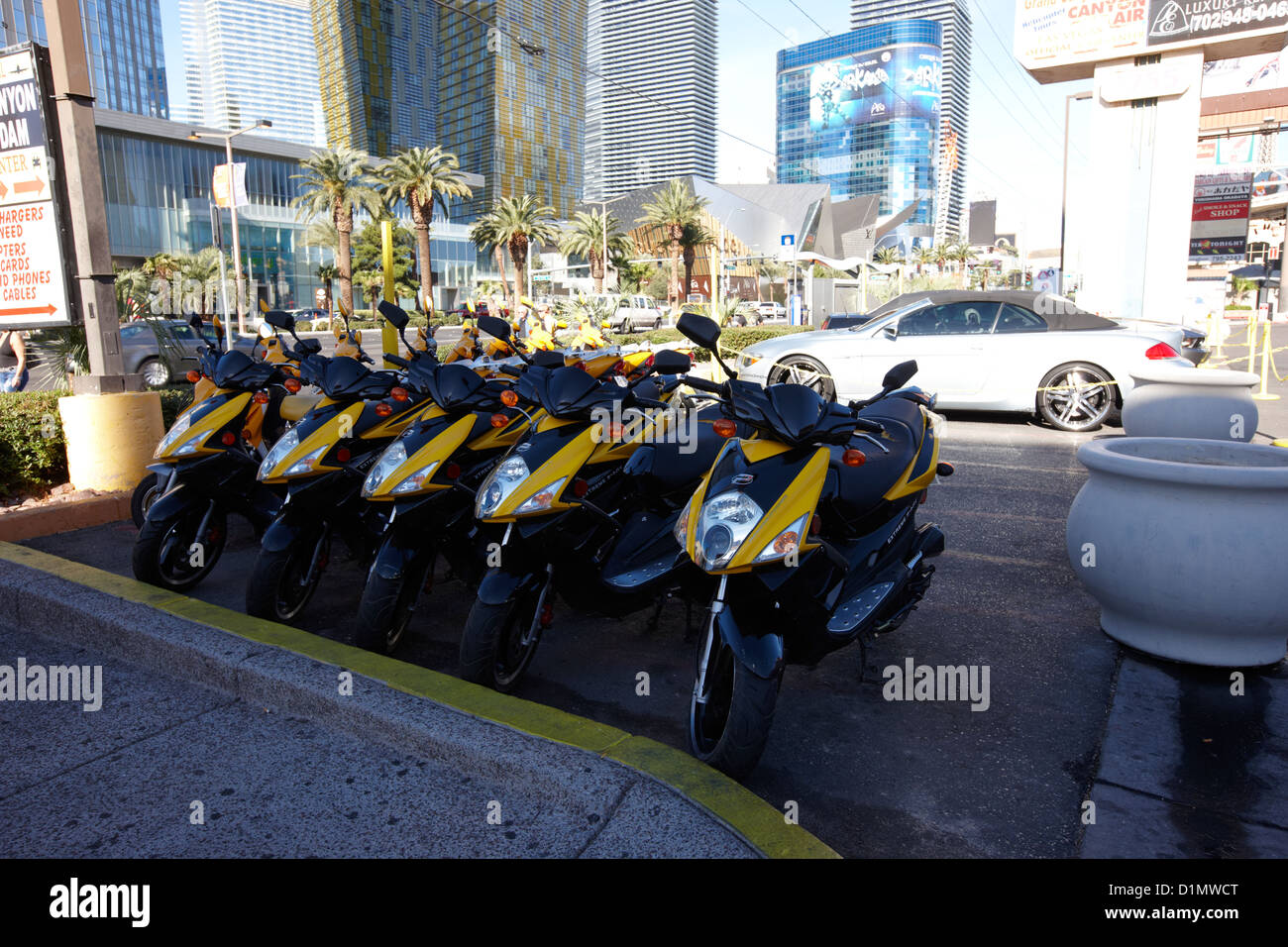 moto scooters for hire on Las Vegas boulevard Nevada USA - Stock Image