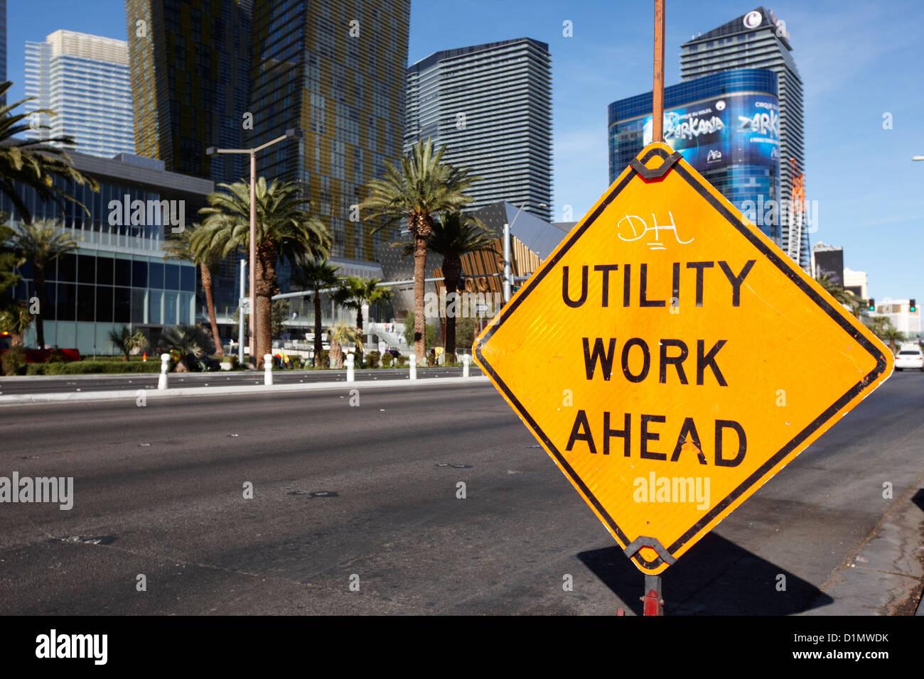 utility work ahead roadsign on Las Vegas boulevard Nevada USA - Stock Image