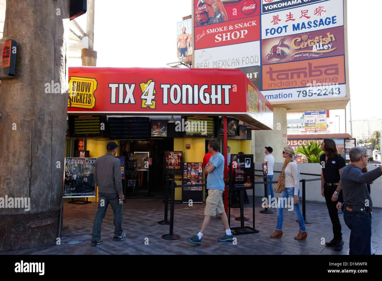 tix 4 tonight discount show tickets booth on Las Vegas boulevard Nevada USA - Stock Image
