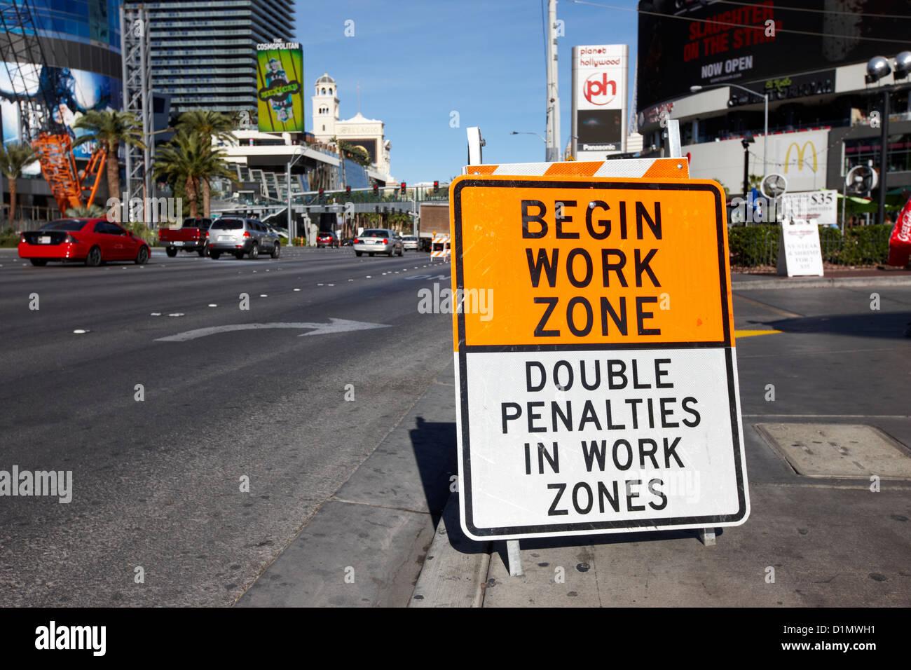 begin work zone double penalties roadsign on Las Vegas boulevard Nevada USA - Stock Image