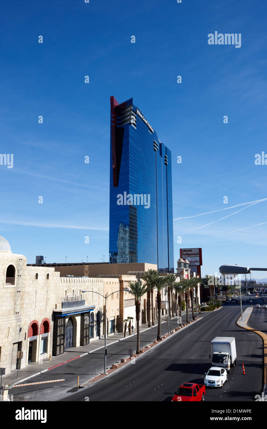 planet hollywood towers westgate labelled hilton grand vacations suites and east harmon avenue Las Vegas Nevada - Stock Image