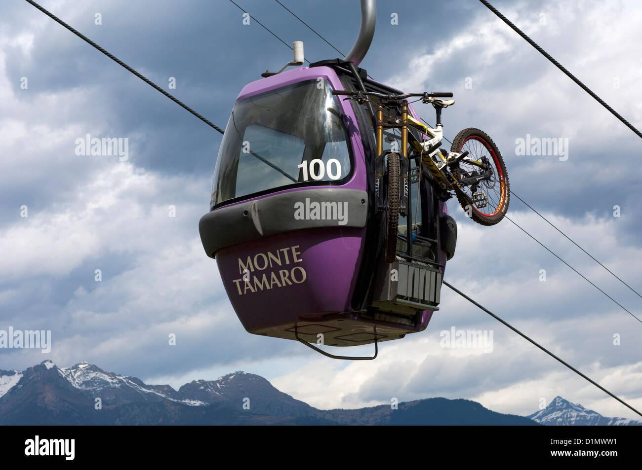 Transport of mountain bikes to the Bike Park Monte Tamaro from Rivera, Ticino, Switzerland - Stock Image