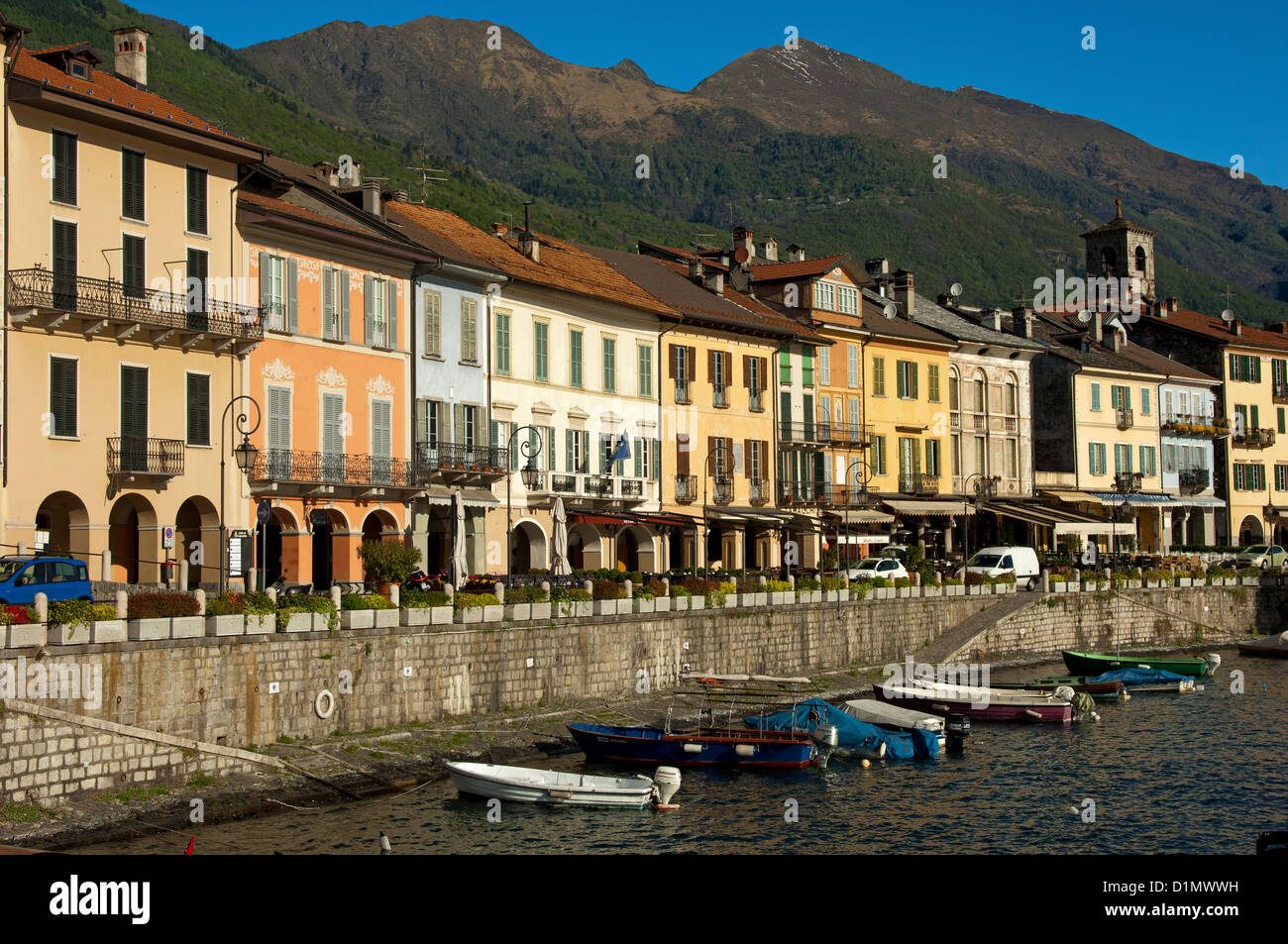 Lakefront in Cannobio at the shore of the Lago Maggiore, Piedmont, Italy - Stock Image