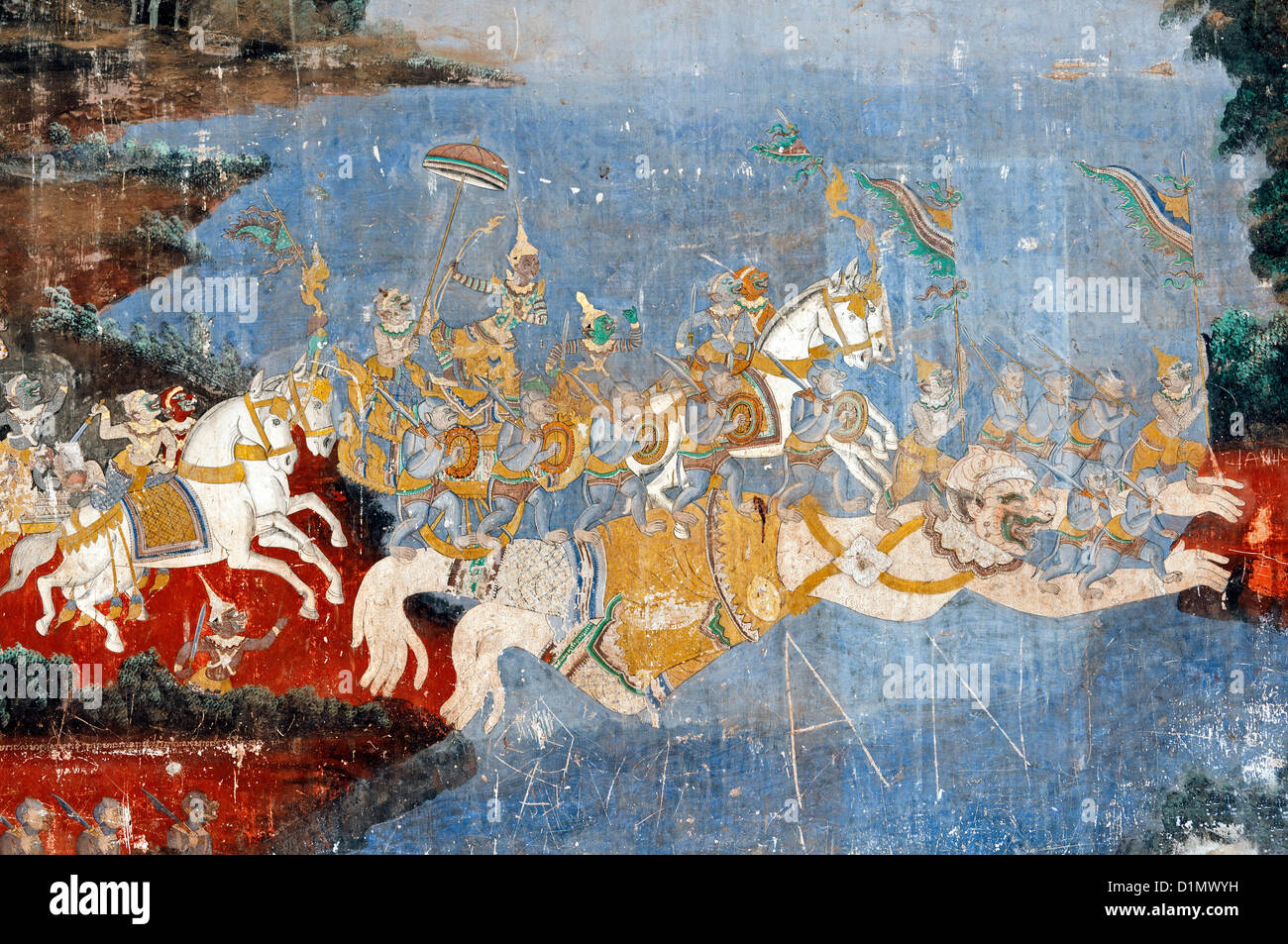 Murals of scenes from the Khmer (Reamker) version of the classic Indian epic Ramayana, Royal Palace, Phnom Penh, - Stock Image