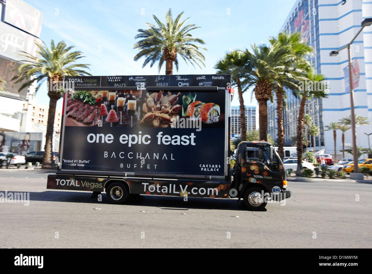 mobile advertising billboard advertising buffet on the strip in Las Vegas Nevada USA - Stock Image