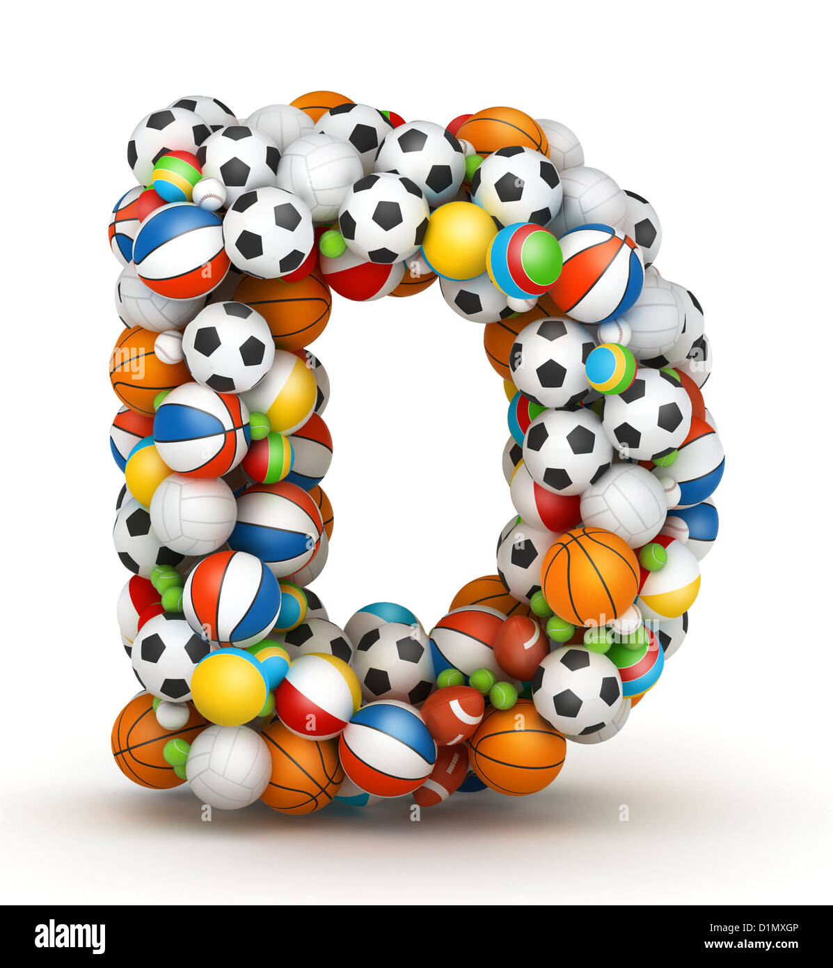 Letter D Stacked From Gaming Balls Alphabet Stock Photo