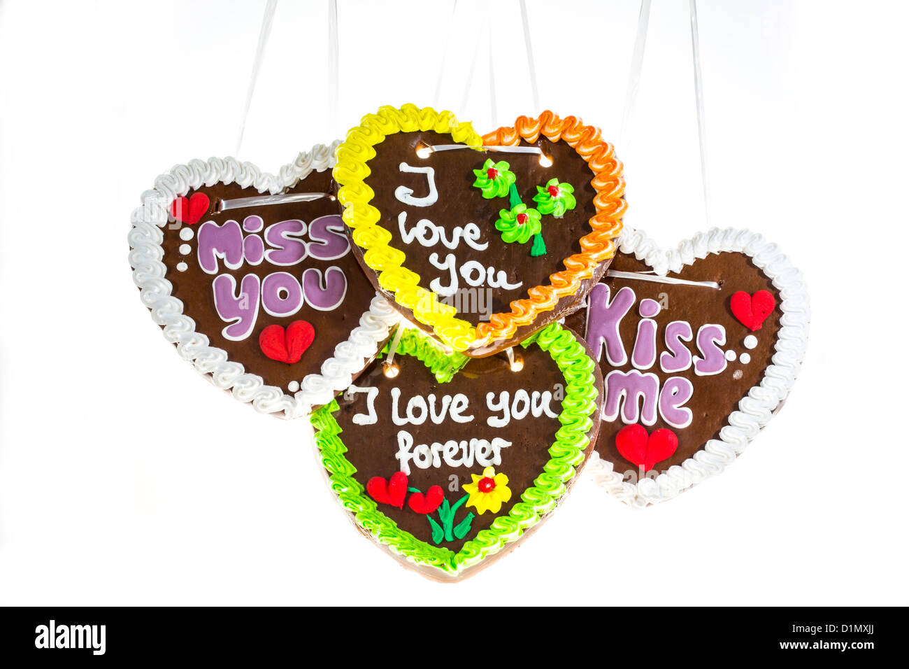 Different Gingerbread Hearts Saying I Love You Miss You Kiss Me