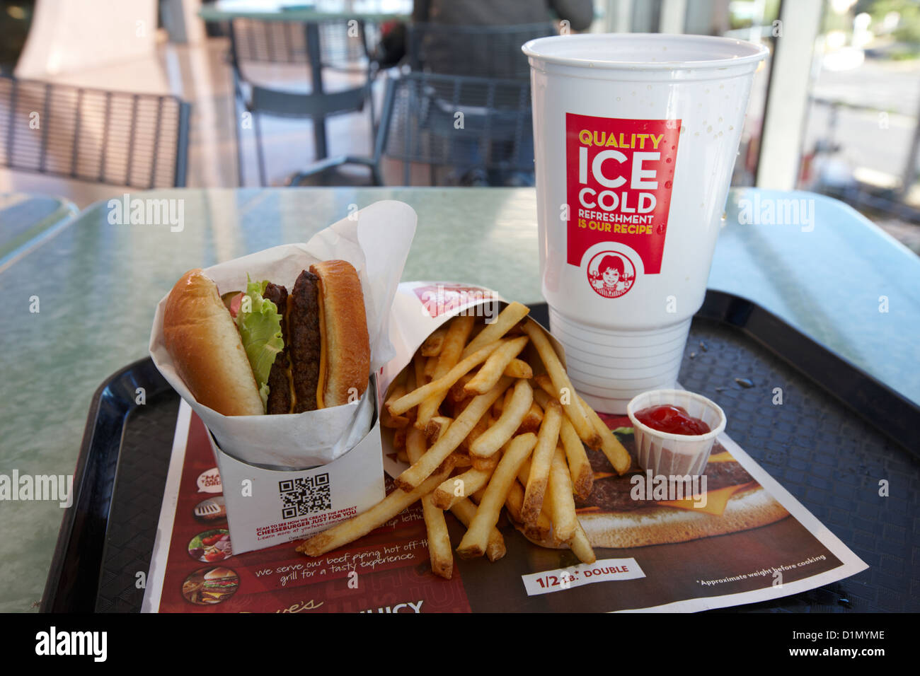 large wendys burger meal with large drink and fries Las Vegas Nevada USA - Stock Image