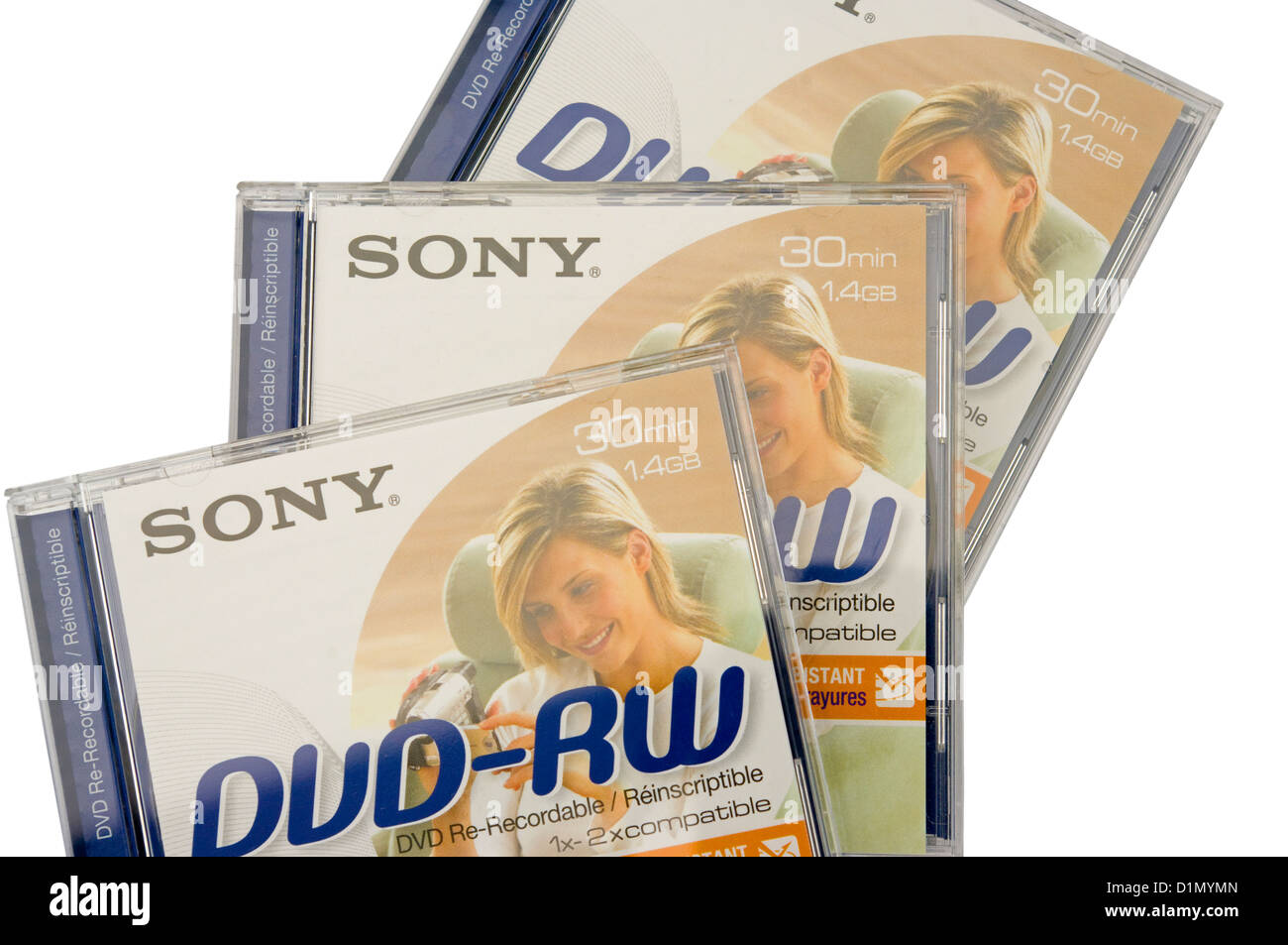 3 Sony Re-Recordable DVD-RW Plastic Cases - Stock Image