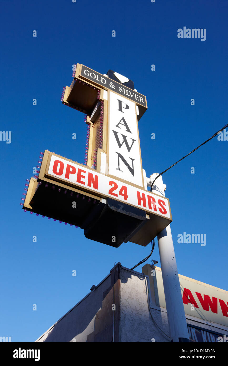 famous gold and silver pawn shop downtown Las Vegas home to the tv series pawn stars Nevada USA - Stock Image