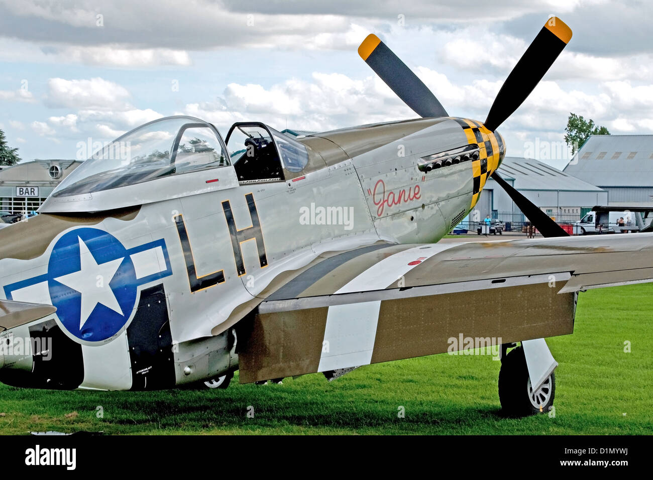 Restored airworthy P-51D Mustang American fighter aeroplane at the Sywell Air Show - Stock Image