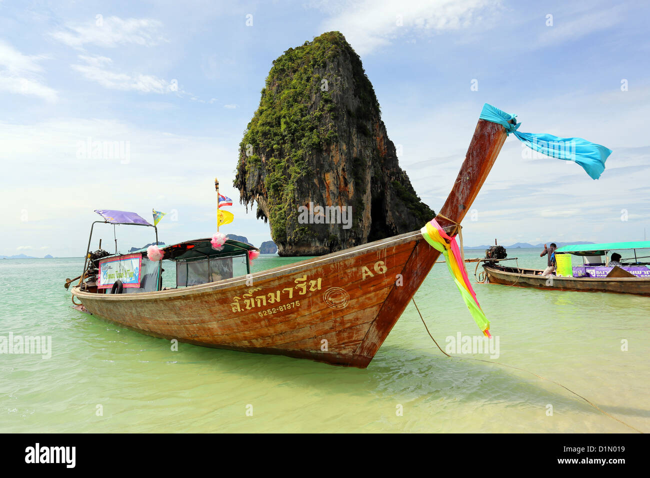 Traditional Thai long tail boat at Phranang Cave Beach, Railay Beach, Krabi, Phuket, Thailand - Stock Image