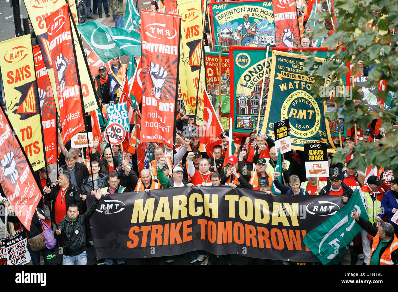 The march moves along the Embankment, 10s of thousands turned out to demonstrate against the Government's cuts. - Stock Image