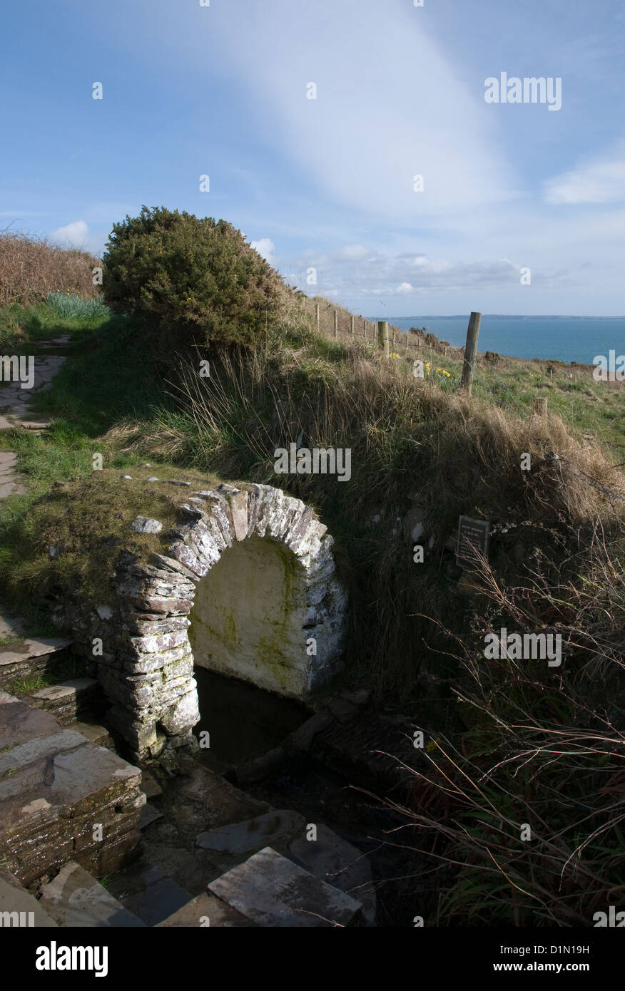 St Non's Well Ancient Monument St Davids Pembrokeshire Wales - Stock Image