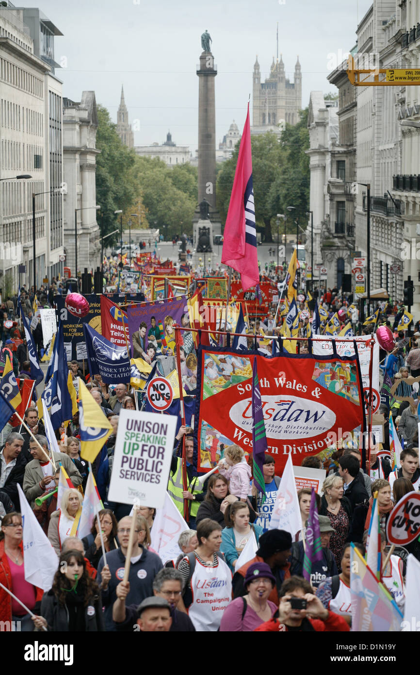 The march up towards Picadilly Circus. 10s of thousands turned out to demonstrate against the Government's cuts. - Stock Image