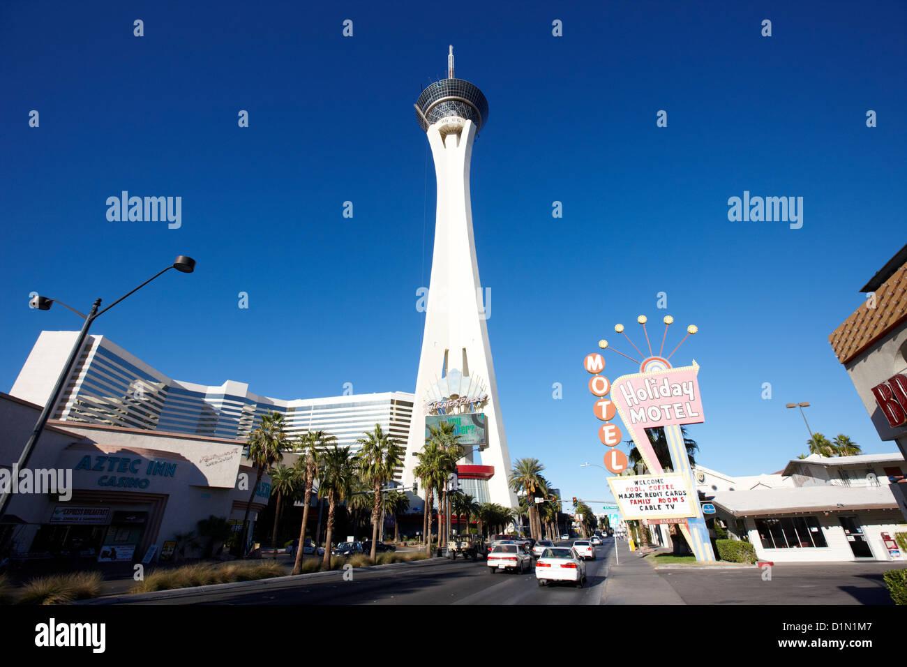 stratosphere hotel tower and casino Las Vegas Nevada USA - Stock Image