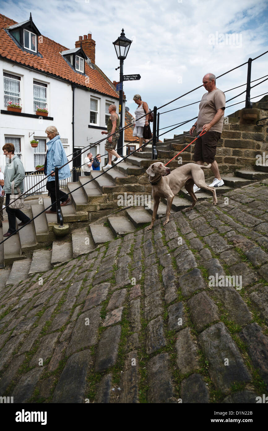 Church Lane and the 199 steps, Whitby, North Yorkshire, England - Stock Image
