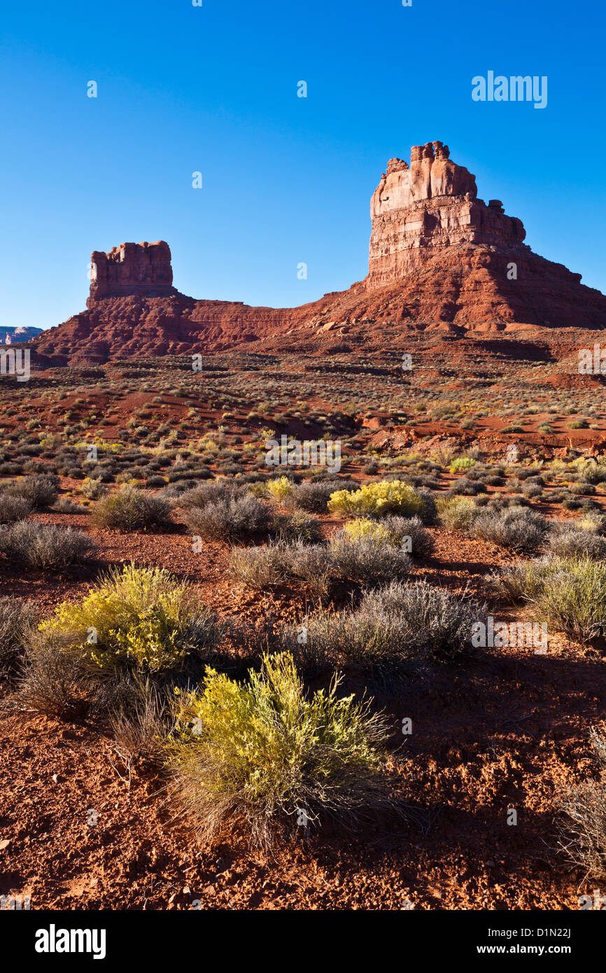 Mittens in The Valley of the Gods near Bluff Utah USA us  united states of america - Stock Image