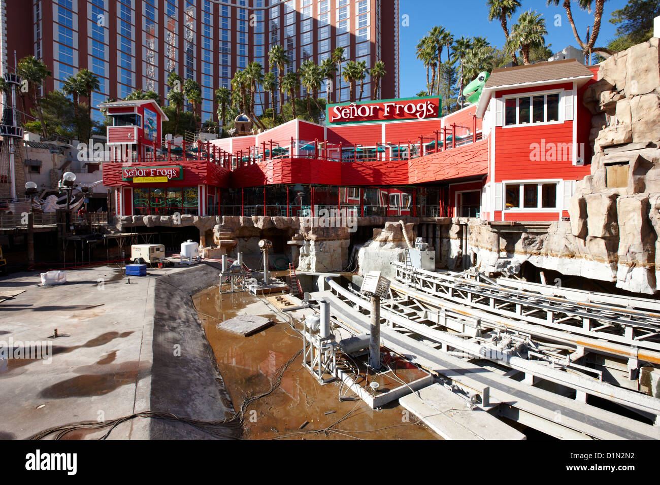 treasure island hotel and casino pirates lagoon drained for works during drought in Las Vegas Nevada USA - Stock Image