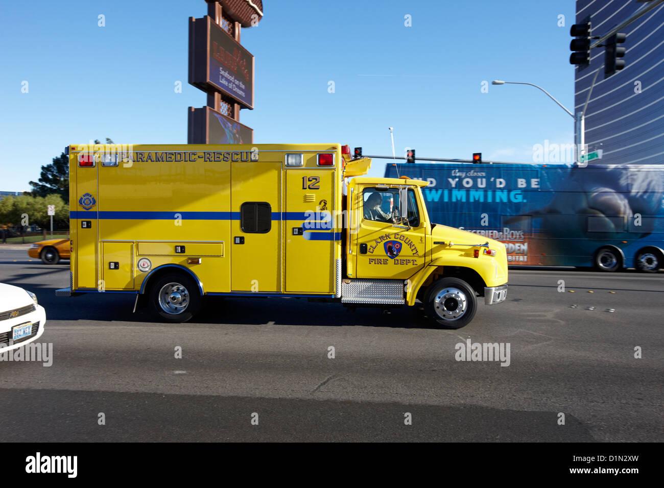 clark county fire and rescue paramedics ambulance Nevada USA - Stock Image