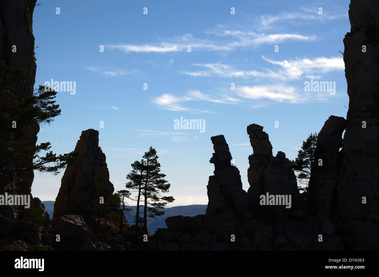 Cadières de Brandis Rock Outcrop Verdon Gorge Provence France - Stock Image