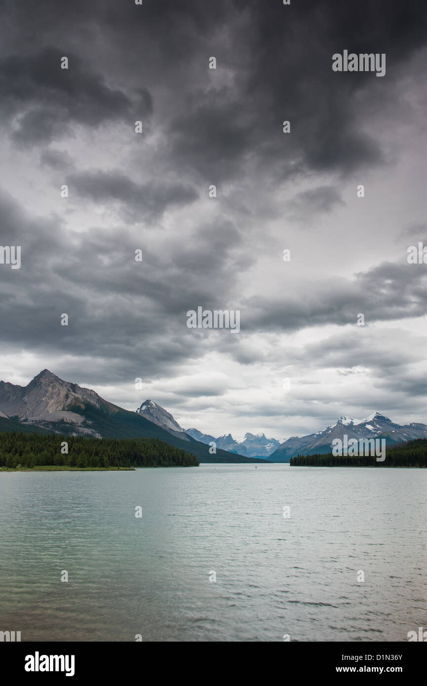 Dark clouds over Maligne Lake, Jasper National Park, Alberta, Canada Stock Photo