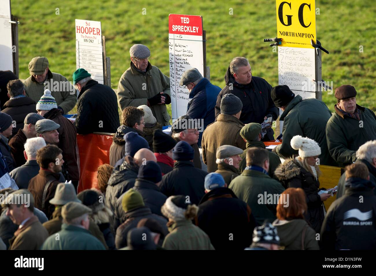 Action from the Point to Point Horse Racing of the Cambridgeshire Harriers Hunts Club fixture at Cottenham, near - Stock Image