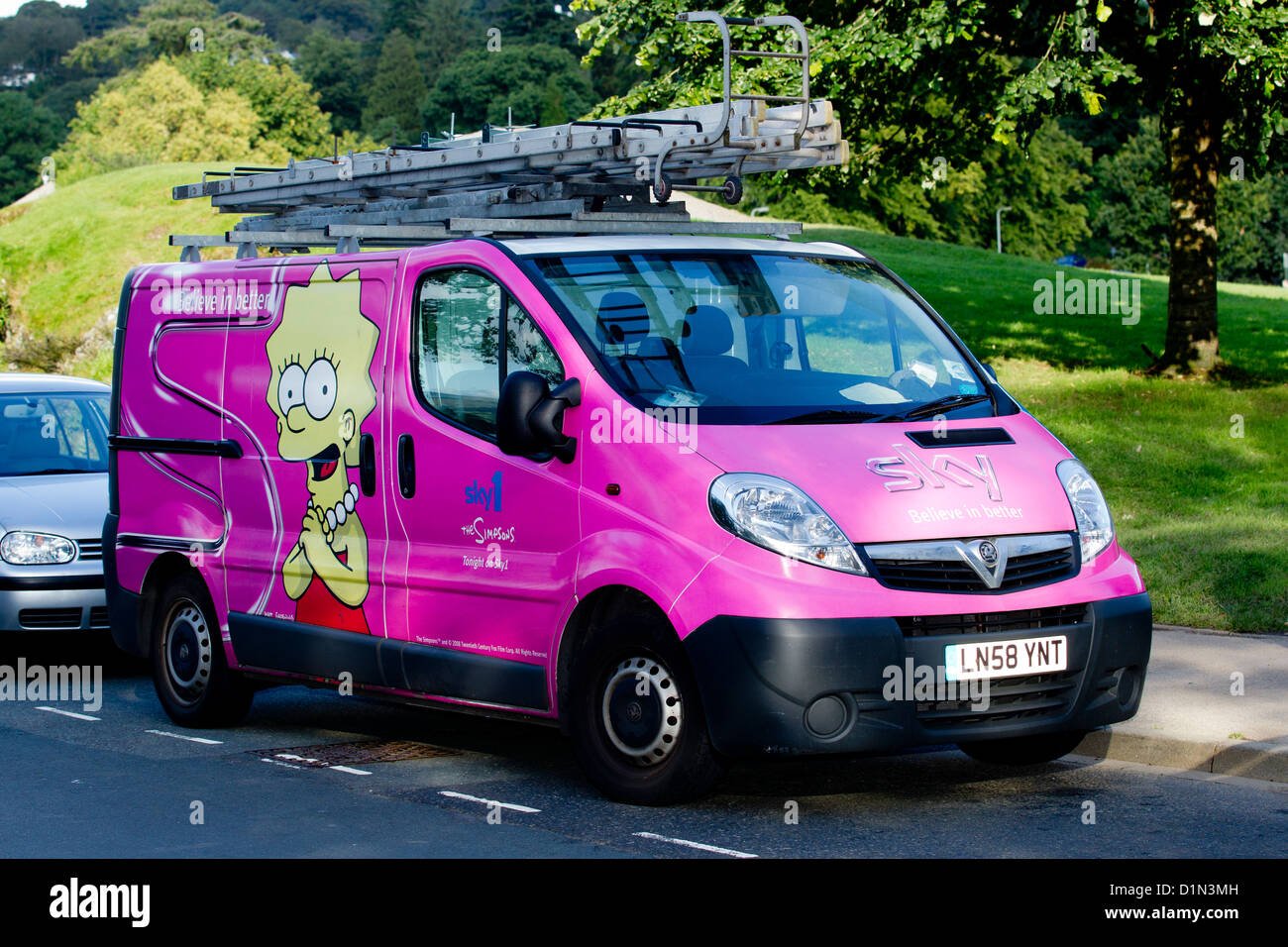 Sky 1 service - insulation van with advert for the Simpsons - Stock Image