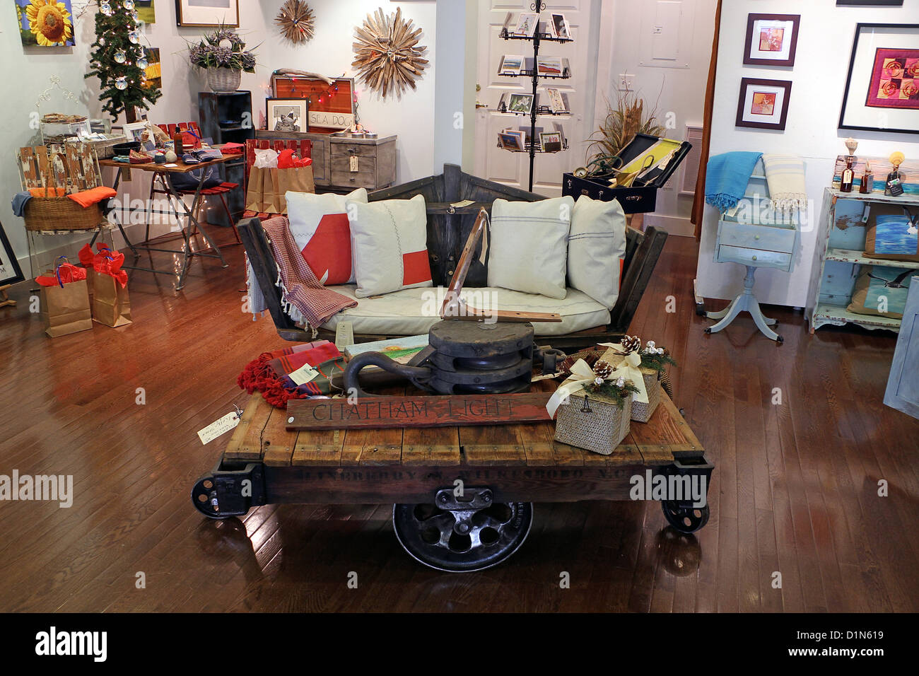 A Sofa Crafted From An Old Boat And A Coffee Table From Rail Wheels And  Boards At The Atlantic Workshop, Chatham, Cape Cod