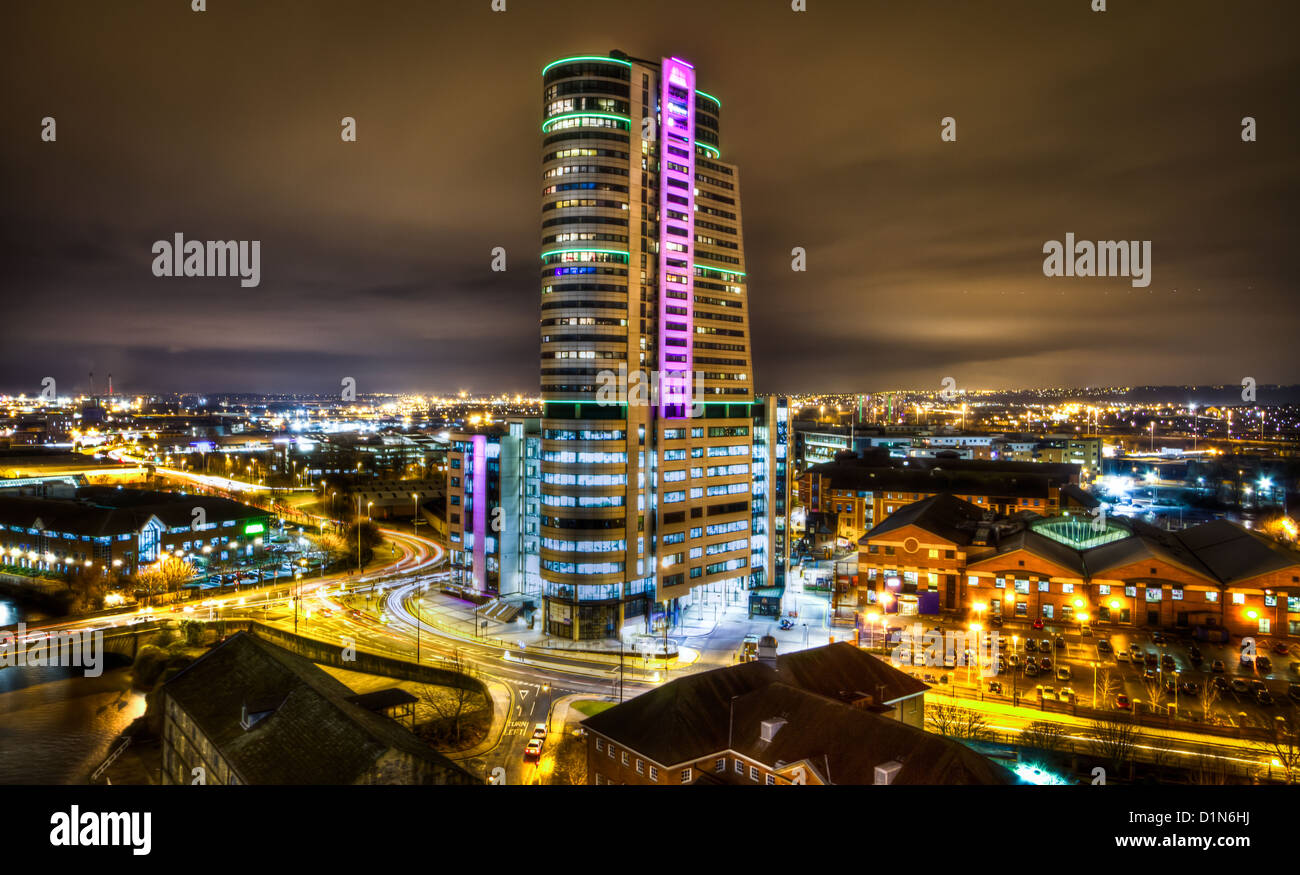 The Bridgewater Place building Leeds at Night - Stock Image