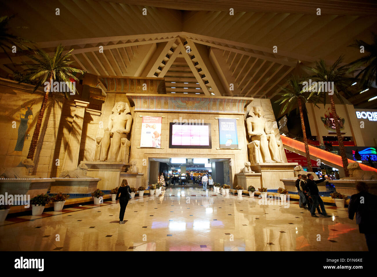 interior of the pyramid at the luxor resort hotel and