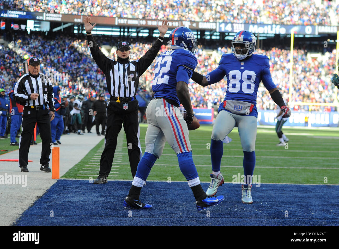 Hot New Jersey, USA. 30 December 2012: New York Giants running back