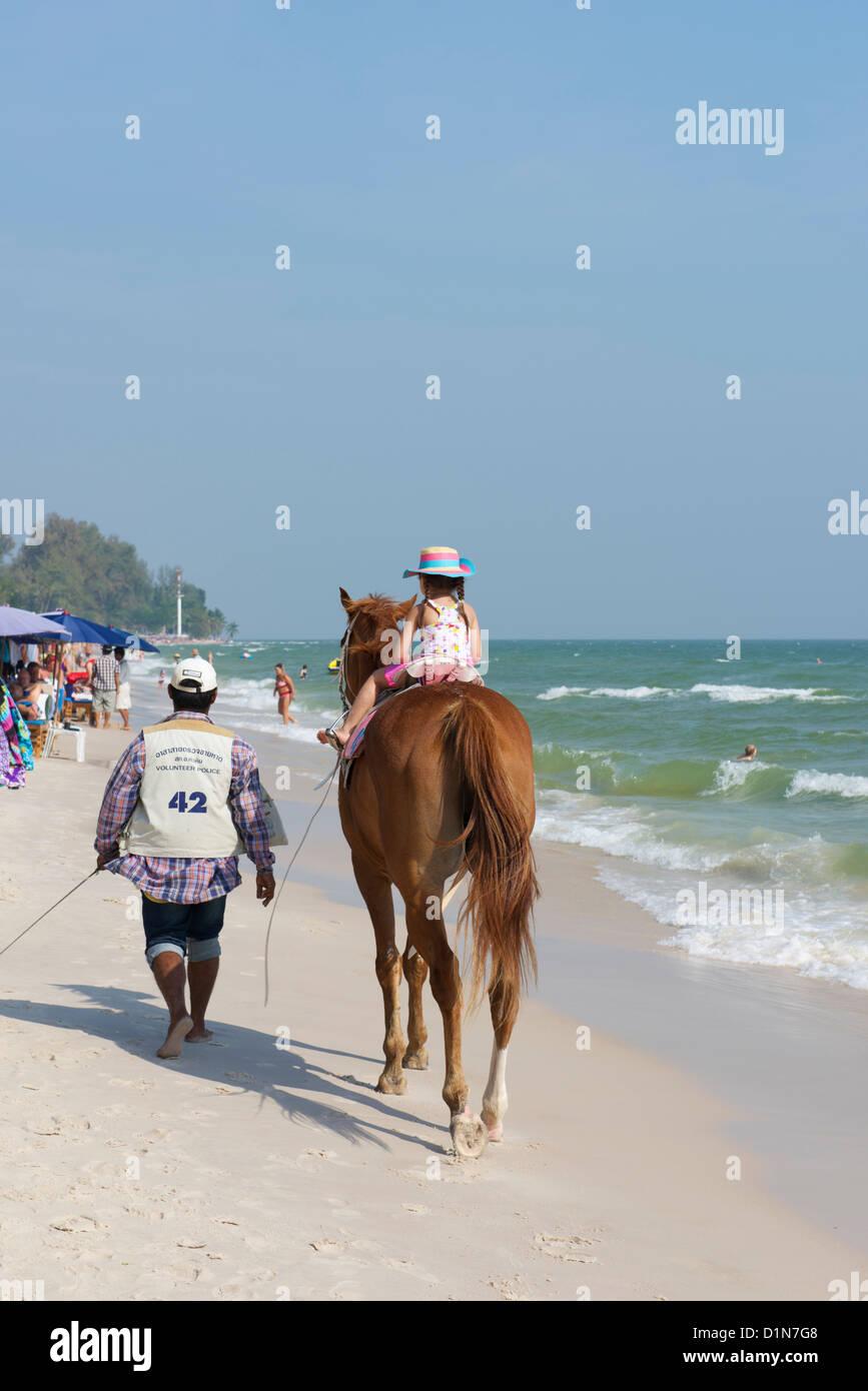 Pony trekking Hua Hin Beach - Stock Image