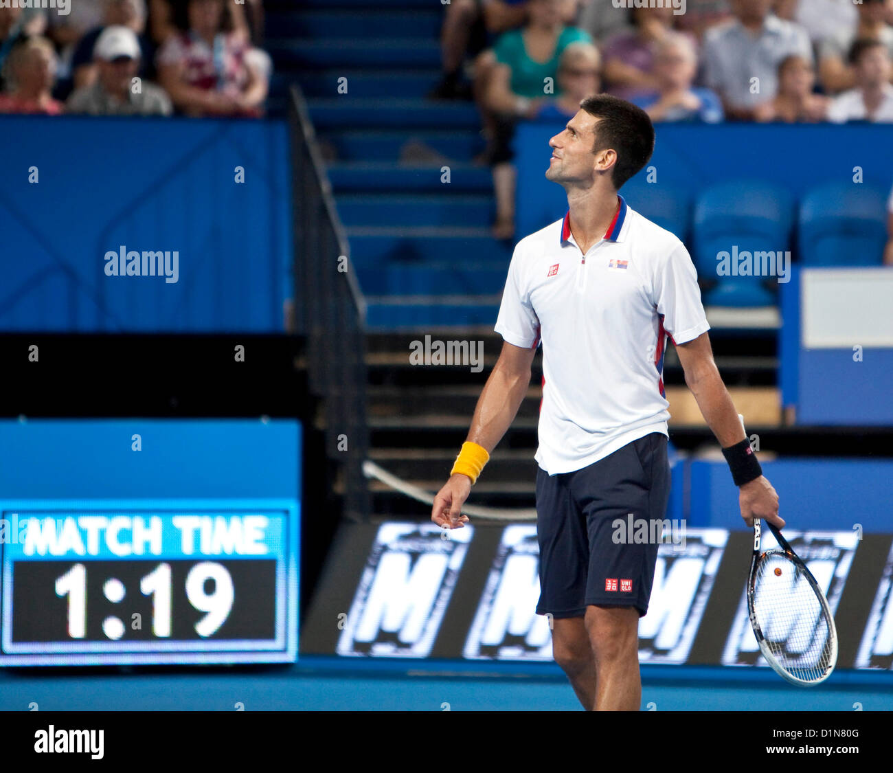 30.12.2012 Perth, Australia. Novak Djokovic (SER) reacts to a point during the Hyundai Hopman cup from the Perth - Stock Image