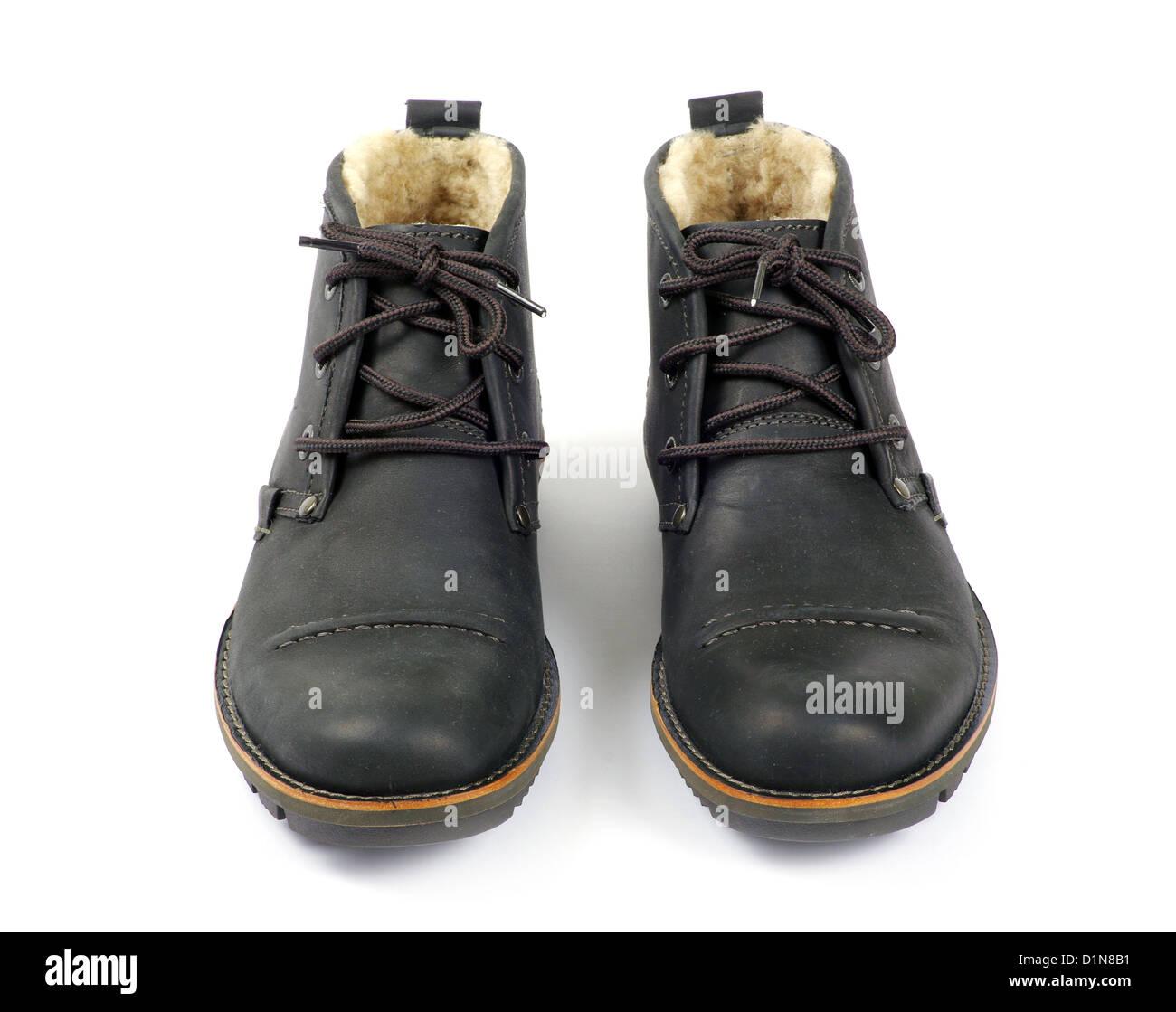 man's black shoes isolated on white background - Stock Image